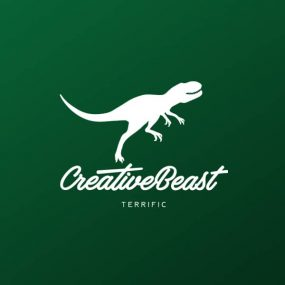 Creative Beast running dino logo| terrific